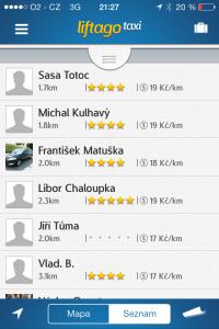 Liftago - seznam