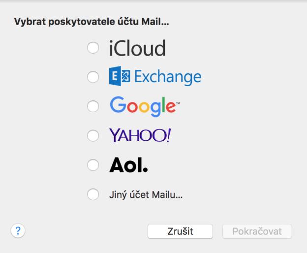 Přidat účet Mail